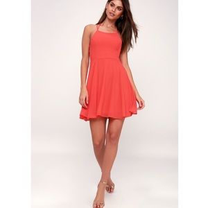 Lulu's Good Deeds Coral Pink Lace-Up Dress